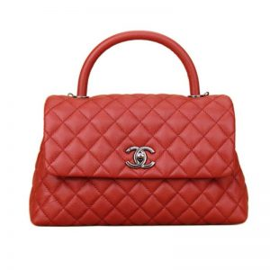 Chanel Women Flap Bag with Top Handle in Grained Calfskin Leather-Red