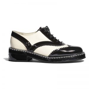 Chanel Women Lambskin & Patent Calfskin Ivory & Black Lace-Ups Shoes
