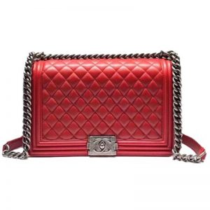 Chanel Women Large Leboy Flap Bag with Chain in Calfskin Leather-Red