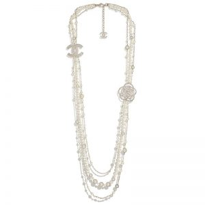 Chanel Women Long Necklace in Metal Glass Pearls & Diamantés-White
