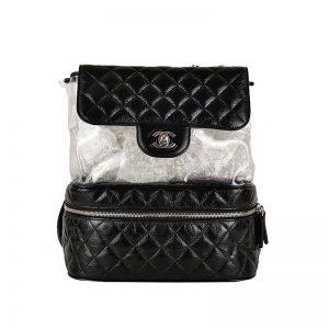 Chanel Women Ringer PVC Shoulder Bag in Aged Calfskin Leather-Black