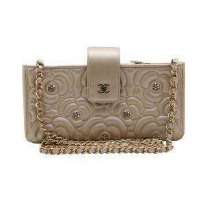 Chanel Women Textured Metal Embroidered Flower Leather Shoulder Bag-Beige