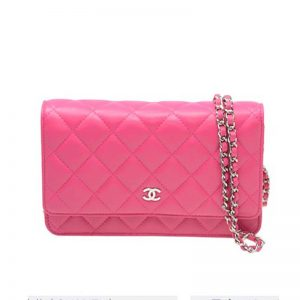 Chanel Women Wallet On Chain Flap Bag in Goatskin Leather-Pink