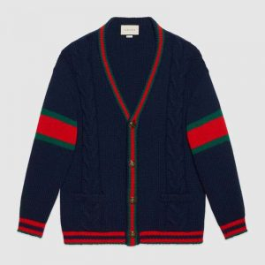 Gucci Men Oversize Cable Knit Cardigan Sweater-Navy