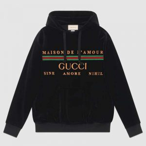 Gucci Men Oversize Sweatshirt with Gucci Embroidery in Black Cotton