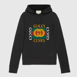Gucci Men Oversize Sweatshirt with Gucci Logo in 100% Cotton-Black