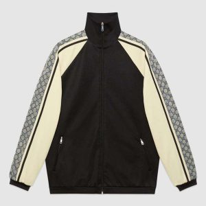Gucci Men Oversize Technical Jersey Jacket in GG Printed Nylon-Black