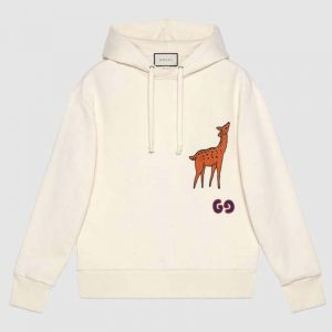 Gucci Women Hooded Sweatshirt with Deer Patch in 100% Cotton-White