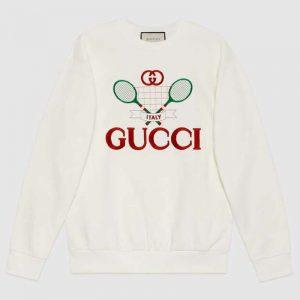 Gucci Women Oversize Sweatshirt with Gucci Tennis in 100% Cotton-White