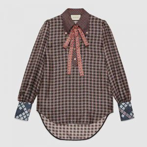 Gucci Women Patchwork Print Shirt with Neck Bow in 100% Silk-Brown