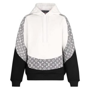 Louis Vuitton LV Men Monogram Circle Cut Hoodie in 100% Cotton-Grey
