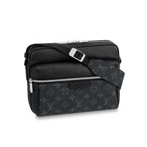 Louis Vuitton LV Men Outdoor Messenger Bag in Taïga Leather with Monogram Canvas-Black