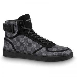 Louis Vuitton LV Men Rivoli Sneaker Boot Shoes in Iconic Damier Graphite Canvas-Grey