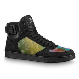 Louis Vuitton LV Men Rivoli Sneaker Boot Shoes in Suede Calf Leather-Black