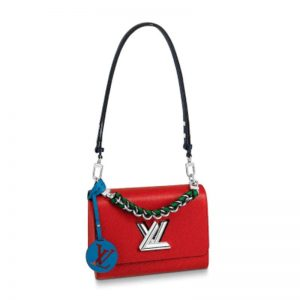 Louis Vuitton LV Women Twist MM Handbag in Epi Leather and Signature LV Twist Lock