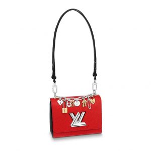 Louis Vuitton LV Women Twist PM LV Love Lock Charms Handbag in Epi Cowhide Leather-Red