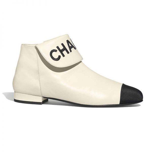 Chanel Women Ankle Boots in Lambskin & Grosgrain Leather 1.5 cm Heel-Beige
