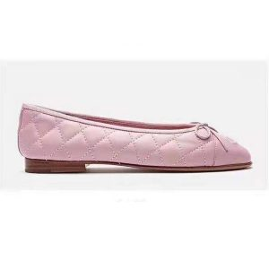 Chanel Women Ballerinas in Aged Calfskin Leather-Pink