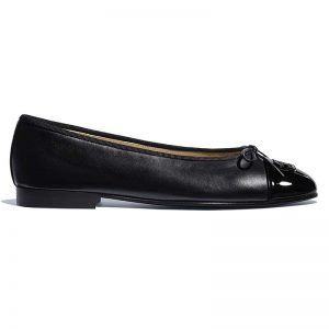 Chanel Women Ballerinas in Lambskin & Patent Calfskin-Black