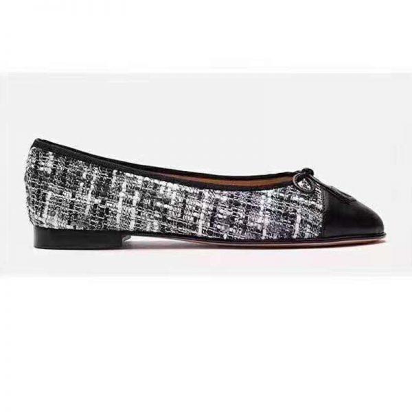 Chanel Women Ballerinas in Tweed Fabrics-Black
