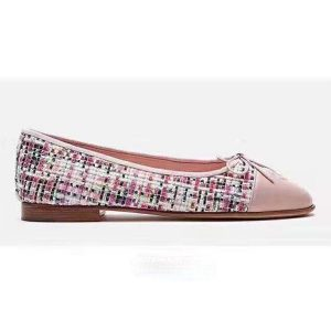 Chanel Women Ballerinas in Tweed Fabrics-Pink