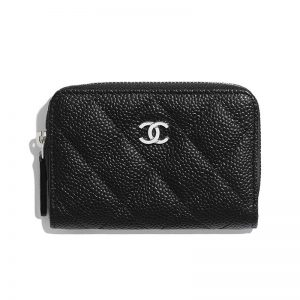 Chanel Women Classic Zipped Coin Purse in Grained Calfskin & Silver-Tone Metal-Black