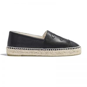 Chanel Women Espadrilles in Lambskin Leather-Black