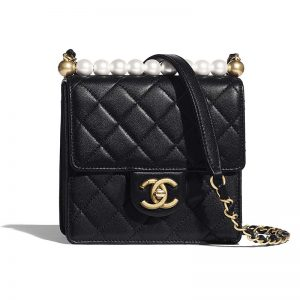 Chanel Women Flap Bag in Goatskin Imitation Pearls & Gold-Tone Metal-Black