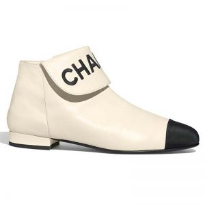 Chanel Women Loge Short Boots in Goat Leather & Faille-White