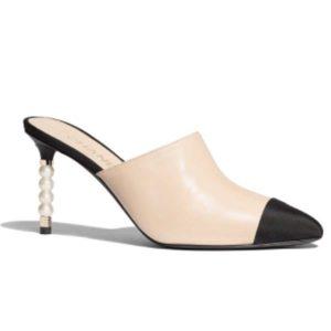 Chanel Women Mules Lambskin & Grosgrain 8 cm Heel-Beige