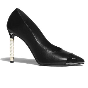 Chanel Women Pumps Lambskin & Patent Calfskin 10 cm Heel-Black