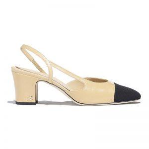 Chanel Women Slingbacks in Goatskin & Grosgrain 6.7 cm Heel-Sandy