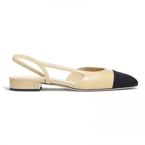 Chanel Women Slingbacks in Goatskin & Grosgrain-Sandy