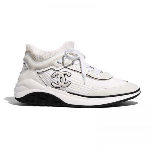 Chanel Women Velvet Calfskin & Mixed Fibers Sneakers-Grey