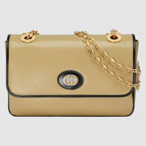 Gucci GG Women Leather Small Shoulder Bag in Textured Leather-Beige