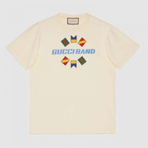 Gucci Men Gucci Band Oversize Print T-Shirt in White Cotton Jersey