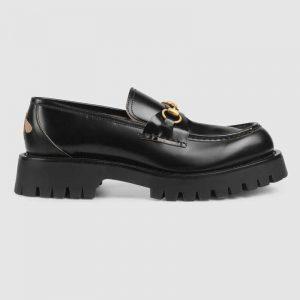 Gucci Men Leather Lug Sole Horsebit Loafer in Black Leather 4.6 cm Heel