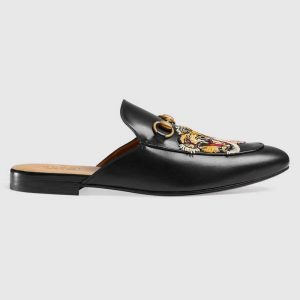 Gucci Men Princetown Embroidered Leather Slipper with Tiger Appliqué 1.27cm Heel-Black