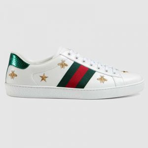 Gucci Men's Ace Embroidered Sneaker in White Leather with Bees and Stars
