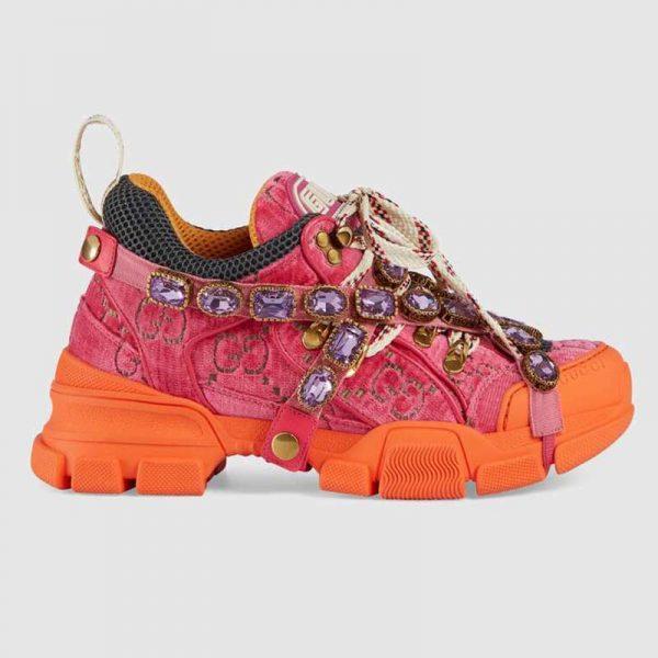 GG Velvet with Leather 5.6 cm Heel-Pink