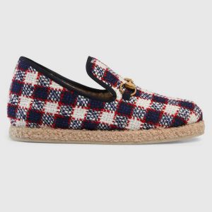 Gucci Unisex GG Check Tweed Loafer in Blue White and Red Check Tweed