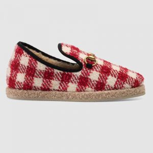 Gucci Unisex GG Check Tweed Loafer in Red and White Check Tweed