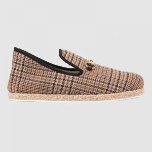 Gucci Unisex GG Check Wool Loafer in Brown Check Wool
