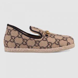 Gucci Unisex GG Wool Loafer in Beige and Ebony GG Wool