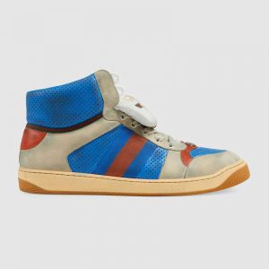 Gucci Unisex Screener GG High-Top Sneaker in Blue Perforated and Off-White Leather