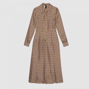 Gucci Women G Rhombus Print Dress in 100% Silk-Brown