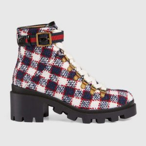 Gucci Women Gucci Zumi GG Check Tweed Ankle Boot in Blue White and Red