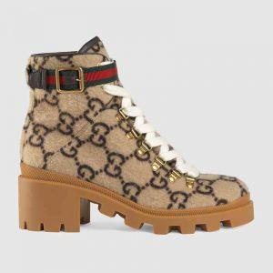 Gucci Women Gucci Zumi GG Wool Ankle Boot in Beige and Ebony GG Wool