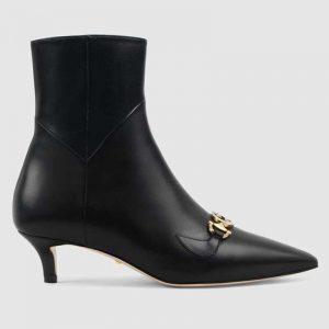 Gucci Women Gucci Zumi Leather Ankle Boot with Interlocking G Horsebit-Black