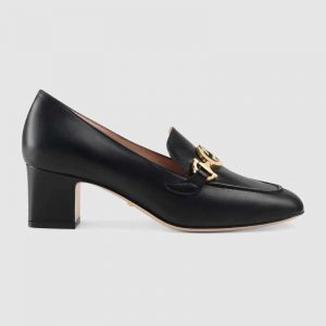 Gucci Women Gucci Zumi Leather Mid-Heel Loafer with Interlocking G Horsebit in 5.6 cm Height-Black
